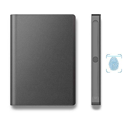 Smart Business elektronische vingerafdrukvergrendeling Notebook, Pocket Personal Diary Planner Journal Organizer, cadeau voor volwassenen, mannen, vrouwen, tiener, zwart