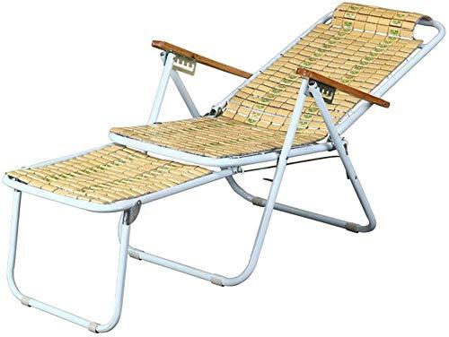 YZjk Schaukelstuhl Sommer Liegestuhl Strandliegestuhl Bambuslatte Spleißen mit dehnbarem Fußschemel, Klappgarten Sonnenliegen Outdoor-Freizeitstuhl