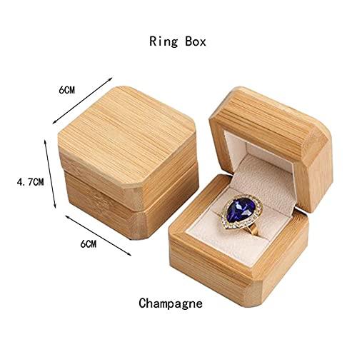USNASLM Pulsera de madera de bambú anillo de joyería caja de regalo de embalaje de cuentas budistas de madera maciza organizador de joyas