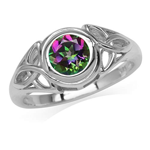 Silvershake 6mm Round Shape Mystic Fire Topaz White Gold Plated 925 Sterling Silver Triquetra Celtic Knot Ring Size 10