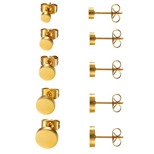 JewelryWe Schmuck 5 Paare Ohrstecker Set, Edelstahl flache runde poliert Ohrringe Ohr-Schmuck für Damen & Herren, Gold, Durchmesser 4,5,6,7,8mm