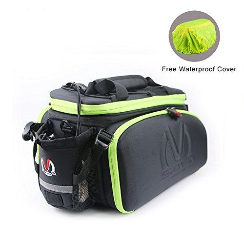SAVADECK Bike Rack Bag, Bike Trunk Bag Multifunction Waterproof Cycling Road Bicycle Pannier Rack Rear Trunk Carrier Commuter Bag - Green