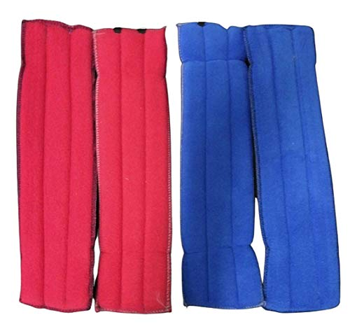 A.D.P. Rooster Booster Protection Fighting Rooster Gamefowl Protective Chicken Supplies Poultry Chickens Mitt Safety, Botas para GALLOS BREEDING, 2 Pairs Blue & Red Fabric Handmade Leg Protect Care