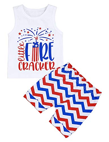 4th of July Baby Boys Girls Summer Clothes Tops + Shorts Infant Independence Day Outfit...