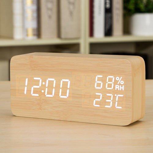 Como Stijlvolle LED creatieve elektronische horloges lichtgevend stil alarm temperatuur en vochtige studenten de nachtmodus van het horloge houten blok bureau horloges