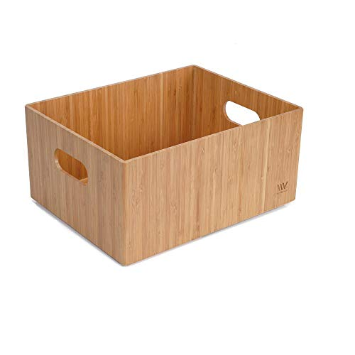 """Bamboo Storage Box, 9""""x12""""x 6"""", Durable Bin w/ Handles, Stackable - For Toys Bedding Clothes Baby Essentials Arts & Crafts Closet & Office Shelf"""