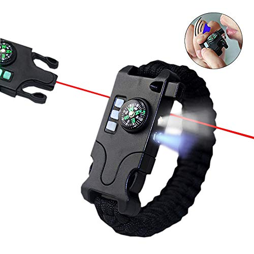 VISUAL KEI Paracord Bracelet Survival Rechargeable Survival Wirst with LED Flashlight,Compass,Emergency Loud Whistle,Laser Infrared Bracelet for Hiking, Camping, Fishing,Climbing (Black)