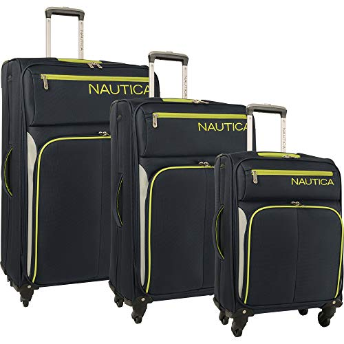 Nautica 3 Piece Expandable Spinner Set 3, Navy/Lime/Silve