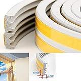 12 Metri Guarnizione per Finestra Adesiva in Gomma Anticollisione per Sigillare e Isolare Serramenti per Bloccare Spifferi dalle Finestre, Tipo E Bianc
