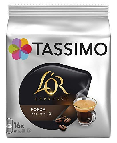 1 Pack Tassimo Coffee Pods - L'OR Espresso - Espresso Forza Flavor - 16 Single Serve Capsules