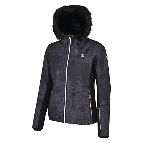 Dare 2b Damen Iceglaze Waterproof & Breathable High Loft Insulated Faux Fur Hooded Ski & Snowboard Jacket with Detachable Snowskirt and Headphone Port wasserdichte, isolierte Jacken, Schwarz, 38