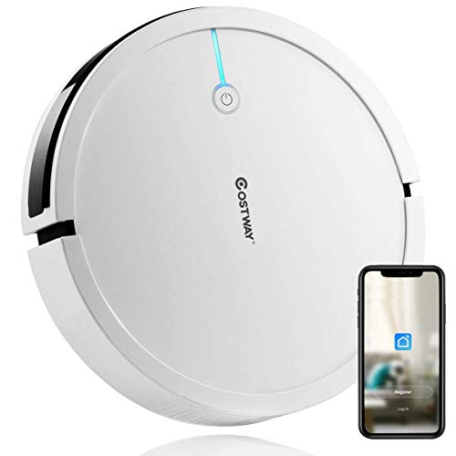 Costway Robot Vacuum, Smart 2000Pa Strong Suction Cleaner, App Controls & WiFi-Connected, Super Quiet Self-Charging Robotic Vacuum Cleaner for Pet Hair, Hard Floor & Thin Carpet