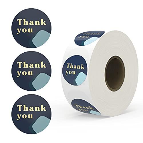 Rileys Thank You-klistermärken rulle | 500 stycken, guldfolie - kuverttätningar för små företag, bubbelbrev, baby shower, bröllop, presentkort, examen (marinblå)
