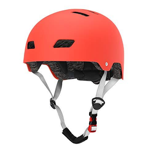 LANOVAGEAR Skaterhelm Fahrradhelm Kinderhelm Radhelm Sporthelm CE-Zertifizierung für Erwachsene, Jugendliche, Kinder für Fahrrad Skateboard Scooter BMX (Orange, M)