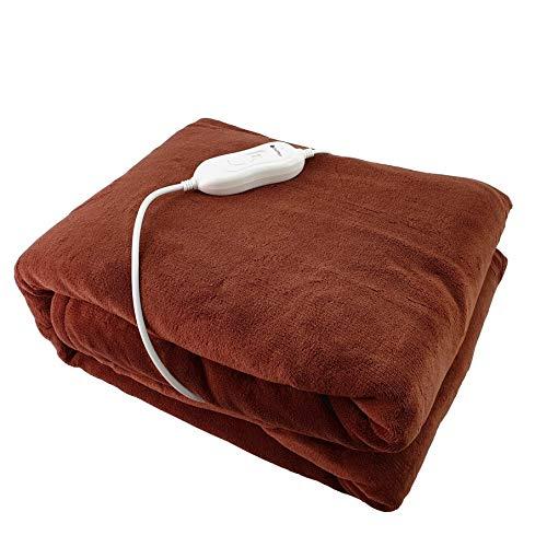 Teddy Plüsch Fleece XXL Braun 180 x 130 Heizdecke Elektrische Wärmebett Wärmeunterbett Wärmedecke waschbar (Braun-Beige)