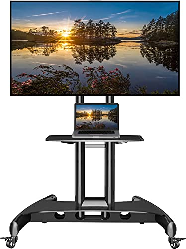 NB North Bayou Mobile TV Cart TV Stand with Wheels for 32 to 70 Inch LCD LED OLED Plasma Flat Panel Screens up to 100lbs AVA1500-60-1P (Black)