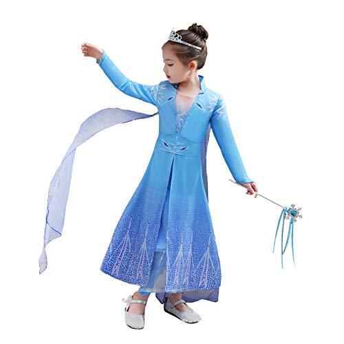 MEXI Vestido de princesa da Elsa, vestido de festa de Natal para cosplay, festa de aniversário com calça + casaco para 3 a 11 anos de idade, Coat Skirt, 100 cm