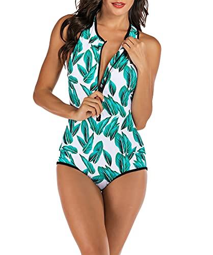 Rash Guard de una pieza para mujer, traje de baño de surf con cremallera y cuello alto, sin mangas,Verde,XXL