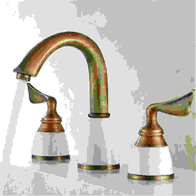 Chrome Kitchen Sink Tap Water Tap Brass Ceramic & Diamond Bathroom Faucet Antique Widespread Basin Sink Faucet
