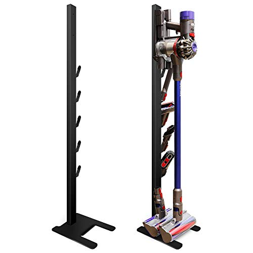 DoubleBlack Supporto Compatibile con Aspirapolvere Dyson V7 / V8 / V10 / V11 Sostegno Pavimento Appendi con Staffa Gancio Porta Accessori Nero