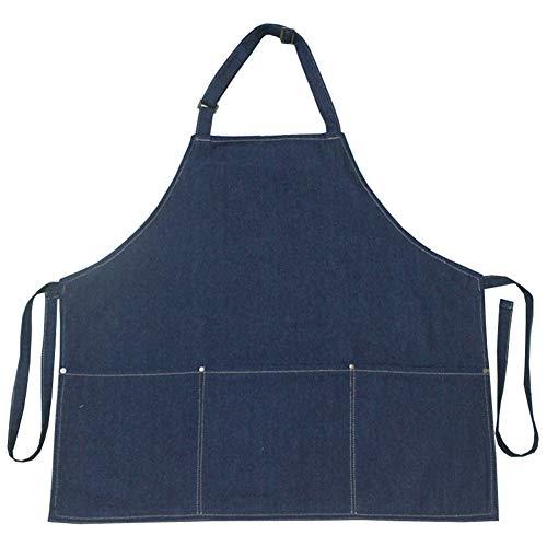Korte Barista Schort Cotton Opknoping Neck Big Pocket Denim Fashion Baking Workwear,Blue