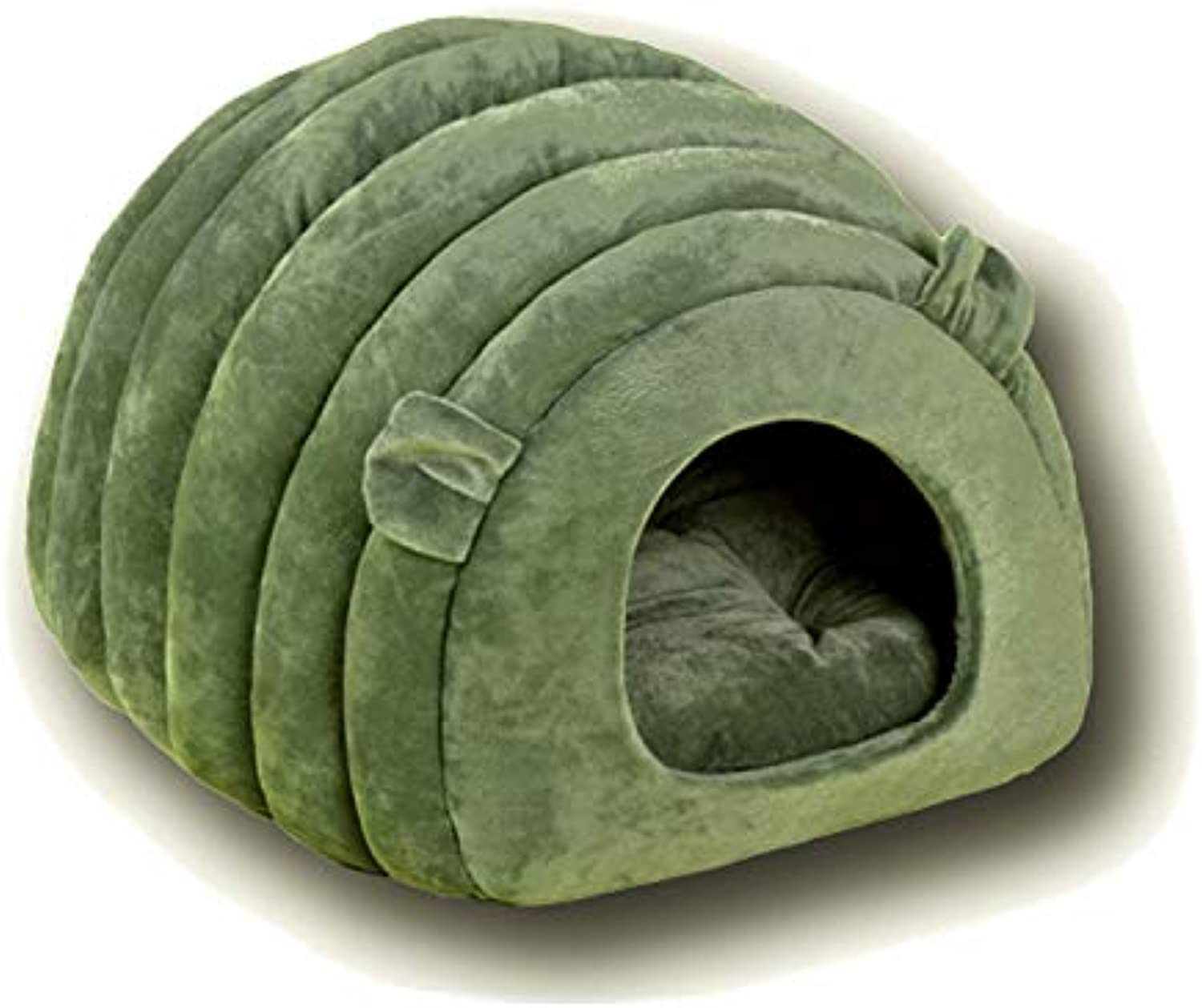Cat Nest, Autumn and Winter Cat Litter SemiEnclosed Cat House Folding Kennel Pet Warmth Supplies (color   Green)