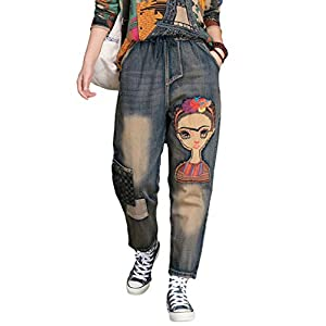 Women's Distressed Denim Jeans Elastic Waist Harem Cropped Pants Casual Ankle Length Trouser