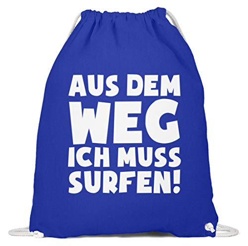 shirt-o-magic Windsurfen: Ich muss Surfen - Baumwoll Gymsac -37cm-46cm-Royales Blau