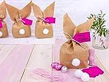Papierdrachen 12 Osterhasen zum selber Basteln und Befüllen - Kreatives Geschenk zu Ostern mit 12 Papiertüten, Kordel und Pompons - für Mädchen - 5