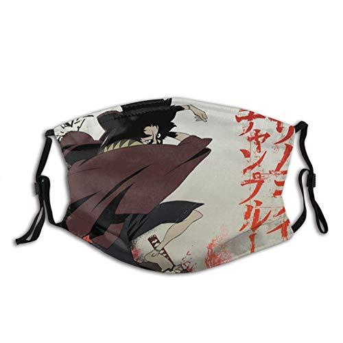 fishappleeatall Cara Champloo de anime Samurai con estampado 3D, lavable y reutilizable para limpieza al aire libre, con filtro de carbón activado, pendientes ajustables