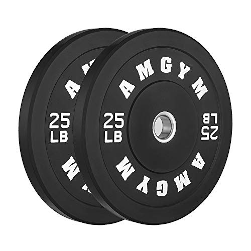 AMGYM LB Bumper Plates Oplympic Weight Plates, Bumper Weight Plates, Steel Insert, Strength Training, Pair (25)