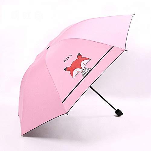 BDWS Paraguas Creativo 3ParaguasPlegables paraniños Lindo Zorro pequeño Parasol Protector Solar Revestimiento Negro Regalos para niños niñas ParaguasRosa