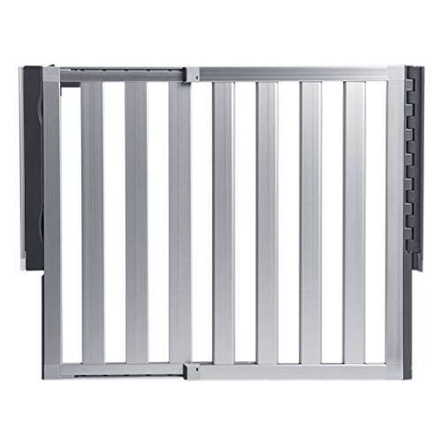 """Munchkin Loft Hardware Mounted Baby Gate for Stairs, Hallways and Doors, Extends 26.5""""- 40"""" Wide, Silver Aluminum"""