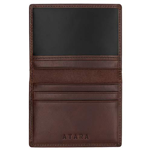 Tarjetero Plegable de Atara: Cuero auténtico, 4 Bolsillos + 1 Bolsillo con Ventana y con tecnología antirrobo RFID, Marrón
