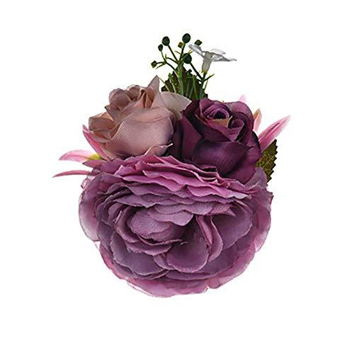 Dosige speld voor bruiloft, kunstbloem, luxe Paars