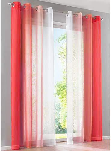 SIMPVALE Juegos de 2 Cortinas Gasa - degradados - Gasa Transparente Visillos - Ancho 140cm - Rojo con Blanco - Altura 145cm