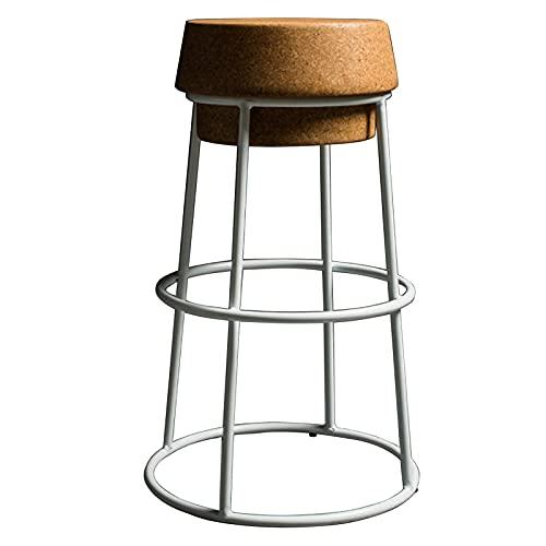 Taburetes de corcho de champán con reposapiés redondo para salón, desayuno, cafetería, mostrador de bar, 45/65/75 cm, blanco, 75 cm (color: blanco, tamaño: 45 cm)