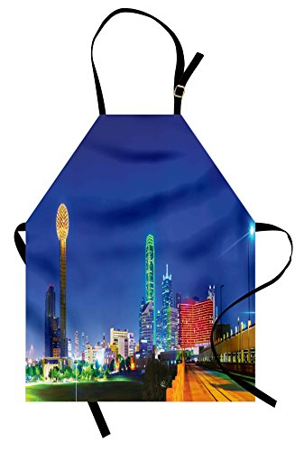 Lunarable USA Apron, Panoramic Overview Dallas TX in The Night Tourist Attractions Famous Cityscape Image, Unisex Kitchen Bib Apron with Adjustable Neck for Cooking Baking Gardening, Multicolor