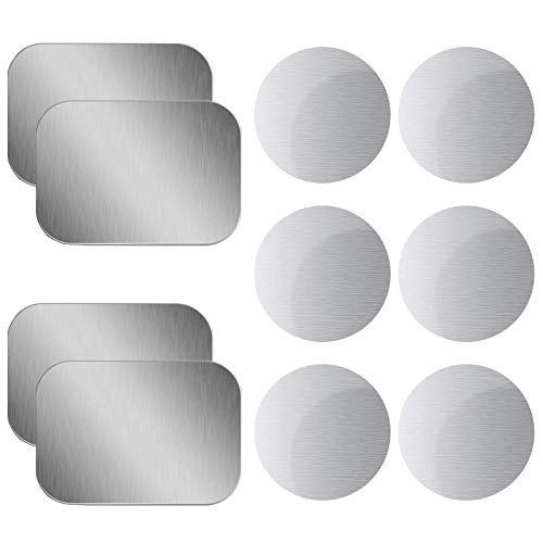 OWLKELA Mount Metal Plate for Phone Magnet Car Mount Holder Cradle with Adhesive, Universal Replacement Sticker Compatible with Magnetic Mounts - 10 Pack Silver (4 Rectangle and 6 Round)