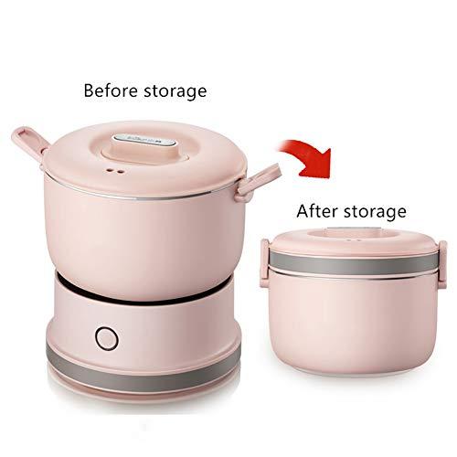 Mijoteuse 1 personne compacte électrique multi-Cooker Hot Pot Frying Pan pour la maison Voyage,Rose