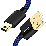 2Pack 6FT Mini USB Cable for GoPro HERO4,Hero 3,PS3 Controller,Canon PowerShot Camera,MP3 Players,SatNav,Ti-84 Plus CE Calculators,Dash Cam,Braided USB 2.0 Type A to Mini-B Data Charging Charger Cord