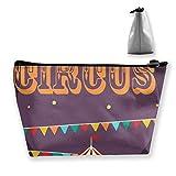 Pizeok Bolsa de Almacenamiento de Iconos de Circo Retro, Bolsa de cosméticos, Bolsa de Maquillaje de Viaje, Estuche Trapezoidal con Cremallera, Bolsa de Aseo Impermeable