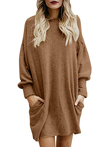 Minetom Damen Pullover Dress Sweater Rundhals Strickkleid Winter Herbst Warm Elegant Fleece Langarm Strickpullover Lang Casual Mini Dress Khaki DE 40