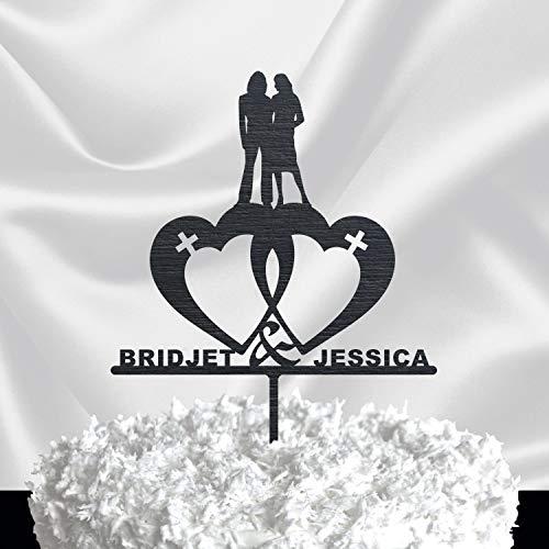 Lesbian Cake Topper for Wedding - Gold Glitter Wedding Cake Topper Couple - Same Sex Wedding Cake Topper - Custom Cake Topper Black