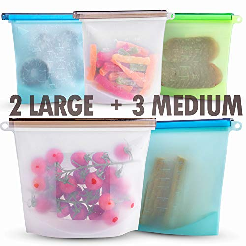 Silicone Bags Reusable Silicone Food Bag Reusable Sandwich Bags Reusable Ziplock Bags Silicone Storage Bags (Silicone bags-5)