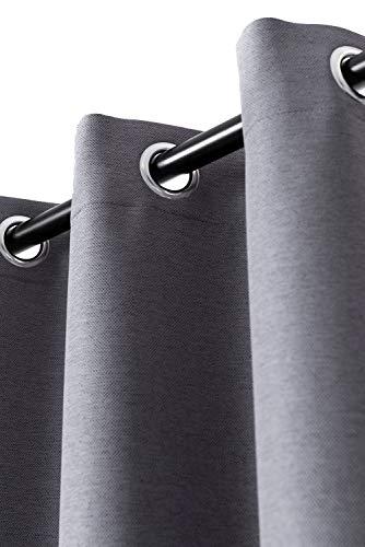 Rollmayer Vorhang mit Ösen MELO (C1 Kaffee-Schwarzgrau, 140x240 BxH). Blickdicht Gardinen für Schlafzimmer,...