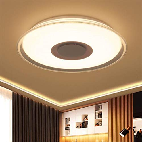 DFLY Lámpara De Techo con Pantalla De Cielo Estrellado, Luz De Techo LED con Música con Altavoces Bluetooth Color RGBW Regulable para Baño Habitación Infantil, Aplicación Y Control Remoto
