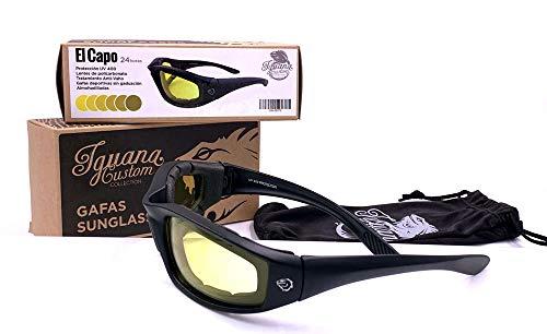 IGUANA CUSTOM CLOTHES Gafas Fotocromáticas Amarillas a Ahumadas EL CAPO cristales irrompibles UV400 con almohadilla para viento (Amarillas)