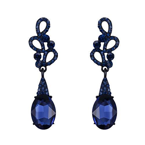 Pendientes de Mujer - Clearine Aretes en Forma de Lágrima, 6 Círculos Estilo Precioso Cristales para Boda Novia Fiesta Azul Marino