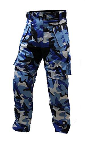 Karno-Motorsport - Pantalón de malla para moto o quad, diseño de camuflaje militar, color azul
